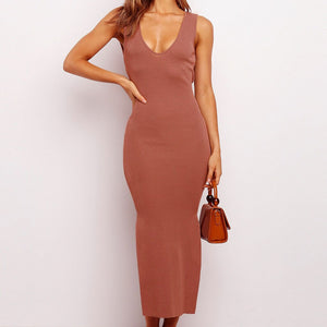 Backless Split Spaghetti Strap Bodycon Dress