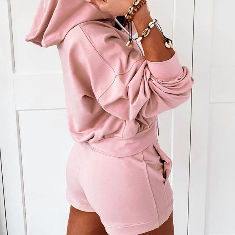 Drawstring Hooded Sweatshirt and Shorts Set