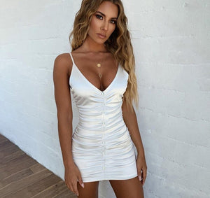Casual Bodycon Sling Solid Folds Mini Dress