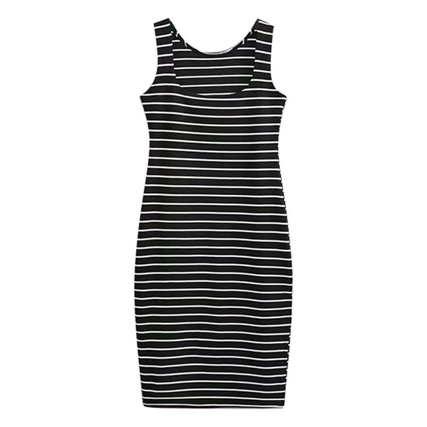 Striped Print Sleeveless Tank Dress