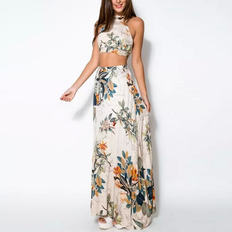 Bandage Floral Casual Crop Top + Long Skirt Set