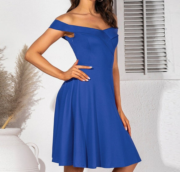 Off Shoulder Simple A-Line Slim Dress