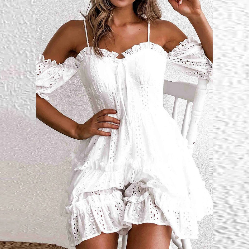 White Embroidery Pleated Lace Dress