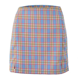 Plaid Print Mini Split Skirt