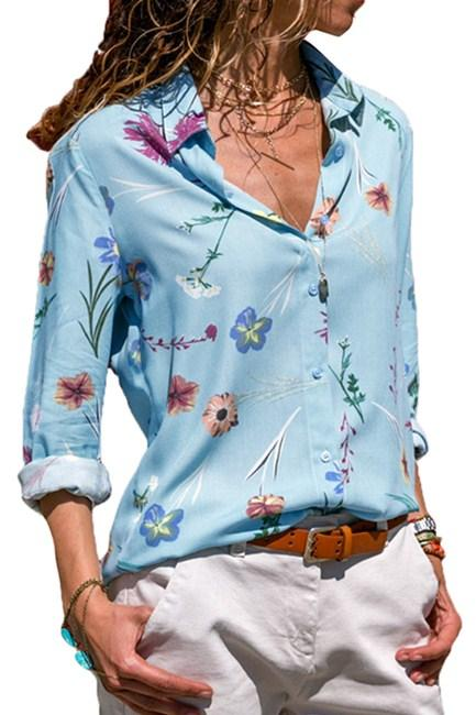 Light Blue Floral Print Button Front Shirt