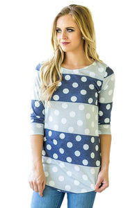 Navy Grey Bold Stripe Polka Dot T-Shirt