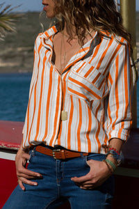 Orange Striped Chest Pocket Button Down Shirt