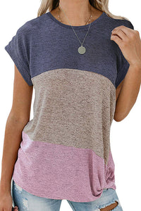 Casual Purple Color Block Twist Short Sleeve Tee