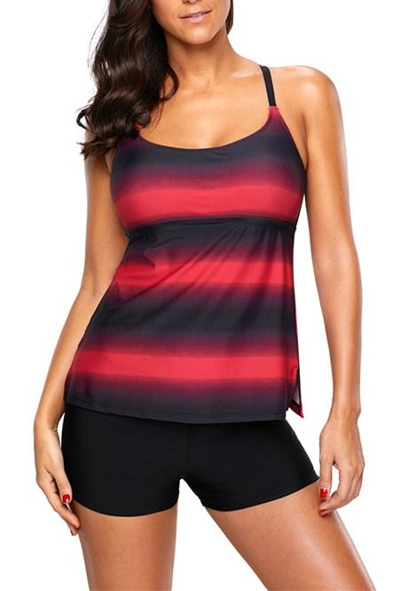 Rosy Black Colorblock Strappy Hollow-out Back Tankini