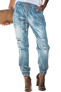 Sky Blue Distress Drawstring Pocketed Ripped Jean Joggers