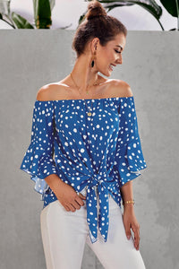 Sky Blue Polka Dot Front Tie Top