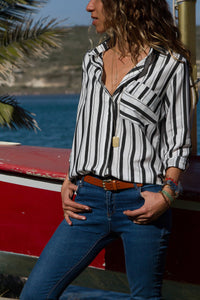 Black Striped Chest Pocket Button Down Shirt