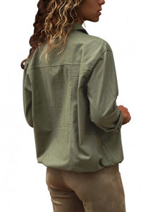 Necessary Army Green Buttoned Pockets Shirt