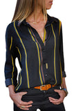 Yellow Charcoal Striped Button Shirt