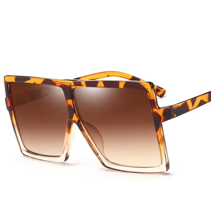 Big Flat Top Frame Leopard Print Designer Sunglasses Women's Sunglasses EMOSNIA Official Store