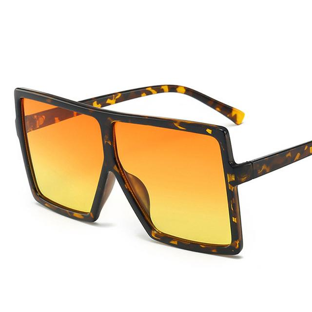 Big Flat Top Frame Leopard Print Designer Sunglasses Women's Sunglasses EMOSNIA Official Store c31 leopa orangyello MULTI