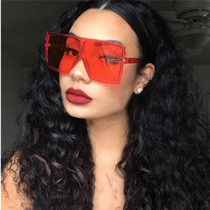 Big Flat Top Frame Leopard Print Designer Sunglasses Women's Sunglasses EMOSNIA Official Store c9 clearRed MULTI