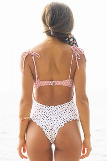Cute White Smocked Polka Dot Swimsuit Swim wear Teal Demeter