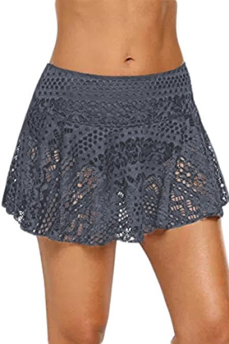 Gray Crochet Lace Skirted Bikini Bottom Swim wear Teal Demeter