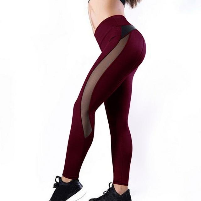 Meshed Down Leggings Leggings MUSTY Store wine red S