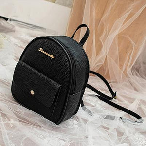 Mini Backpack Leather Shoulder Bag Backpacks Ptgirl BAG Store Black