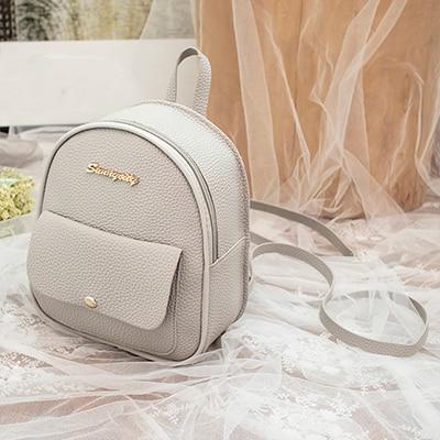 Mini Backpack Leather Shoulder Bag Backpacks Ptgirl BAG Store Gray