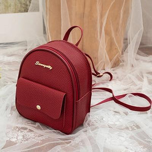 Mini Backpack Leather Shoulder Bag Backpacks Ptgirl BAG Store Red