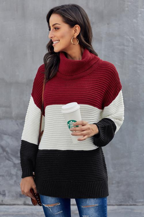 Necessary black and red turtleneck sweater Sweaters & Hoodies Teal Demeter