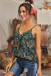 Necessary Black Floral Print Button Down Tank Top Blouses & Shirts Teal Demeter