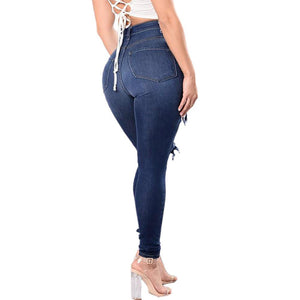 Necessary Blue Ripped Hole Gradient Long Jeans Jeans CHAONA Fat Dropshipping Store