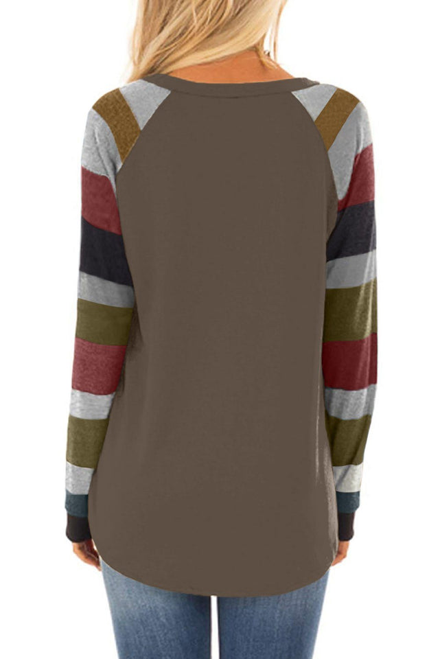 Necessary brown color block pullover top Tops & Blouses Teal Demeter