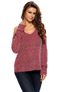 Necessary burgundy cold shoulder knit sweater Sweaters Teal Demeter