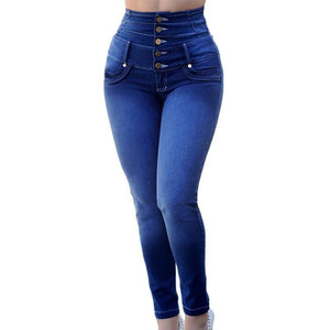 Necessary Buttons High Waist Stretch Jeans Jeans Fascination Store dark blue 2 S