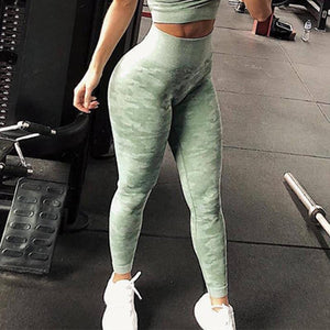 Necessary Camouflage Seamless Workout Leggings Leggings CHRLEISURE Store Green XS