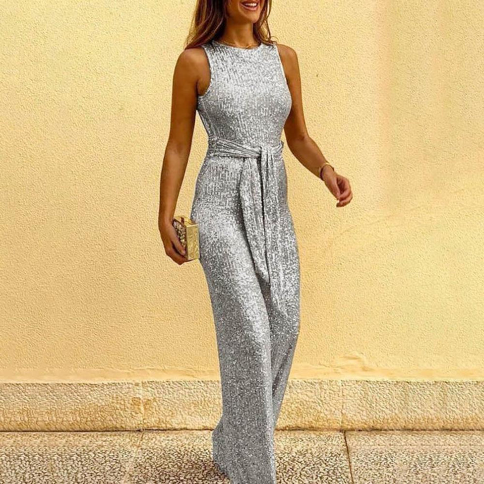 Necessary Elegant Sashes Sleeveless Jumpsuit Rompers LJL Store