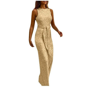Necessary Elegant Sashes Sleeveless Jumpsuit Rompers LJL Store Gold S