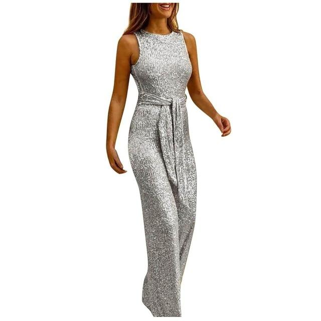 Necessary Elegant Sashes Sleeveless Jumpsuit Rompers LJL Store Silver S