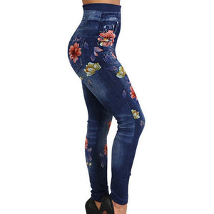 Necessary Floral Print Pencil Faux Denim Jeans Leggings Wardrobe of Princess Store blue S