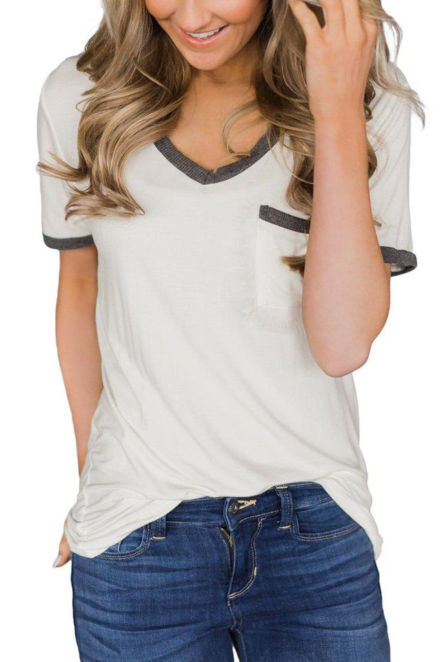 Necessary gray trimmed t-shirt Tops & Blouses Teal Demeter