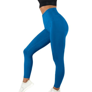 Necessary High Waist Push Up Elastic Sport Leggings Leggings Foundfinding Store blue 2 S