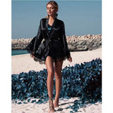 Necessary Lace Fringed kimono Robe Sleepwear northfashion Black S