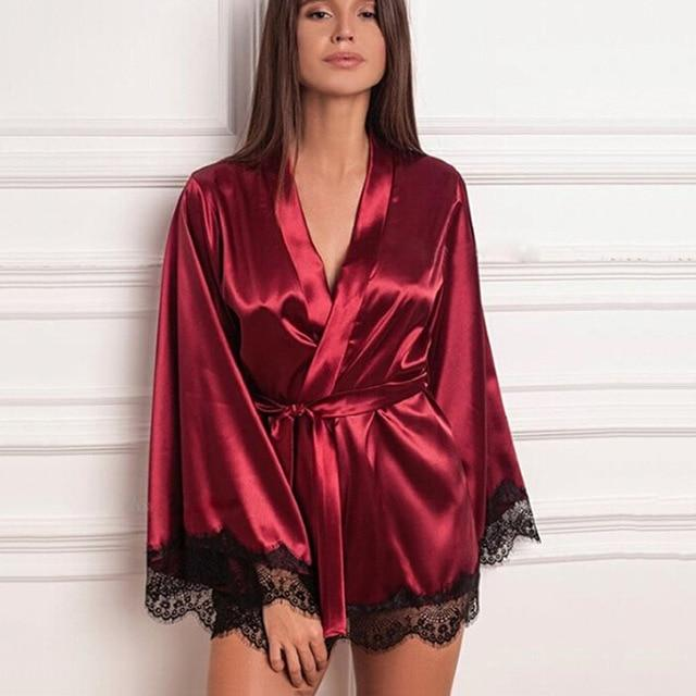Necessary Lace Fringed kimono Robe Sleepwear northfashion Red S