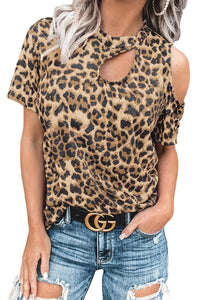 Necessary leopard cut out short sleeve top Blouses Teal Demeter