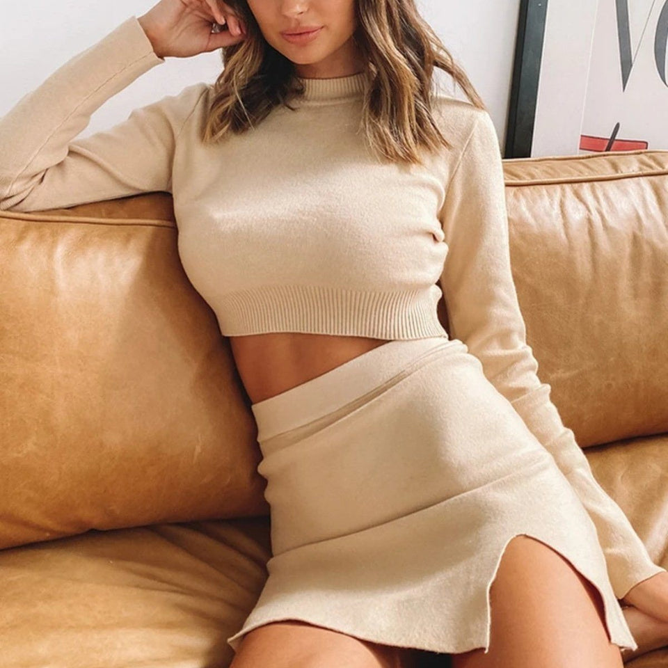 Necessary light knit long sleeve top + side split skirt Matching sets Silver Sam
