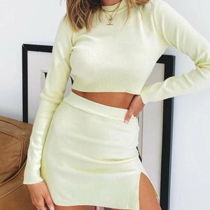 Necessary light knit long sleeve top + side split skirt Matching sets Silver Sam As the picture shows L