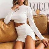 Necessary light knit long sleeve top + side split skirt Matching sets Silver Sam White L