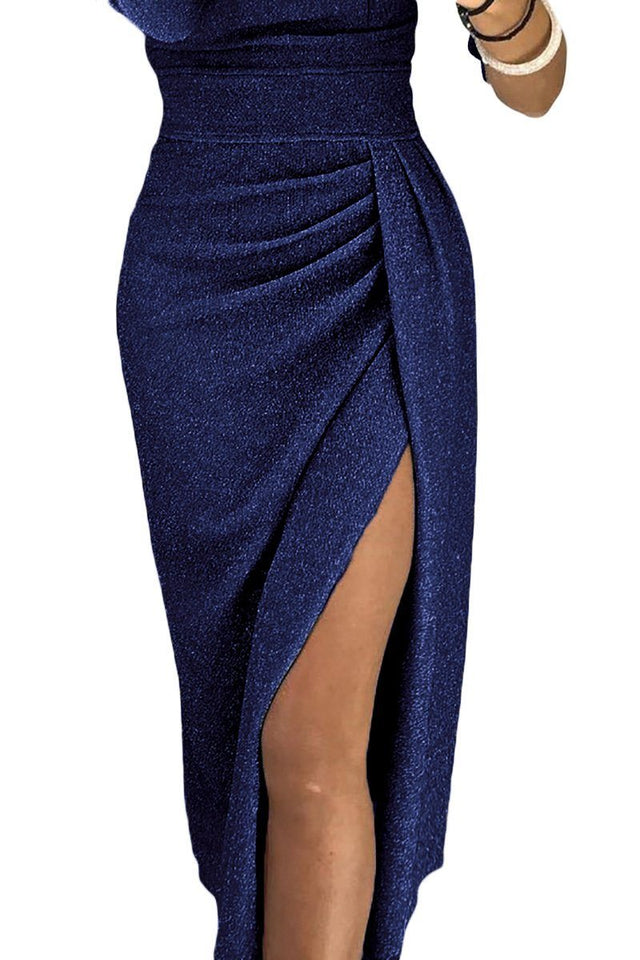 Necessary navy metallic glitter split dress Dress Teal Demeter