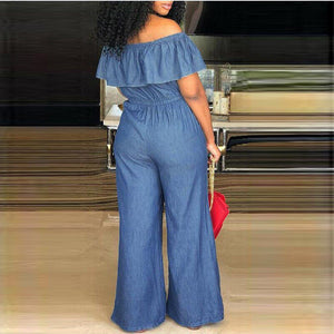 Necessary Off Shoulder Denim Jumpsuit Jumpsuits FanGe Clothes Store