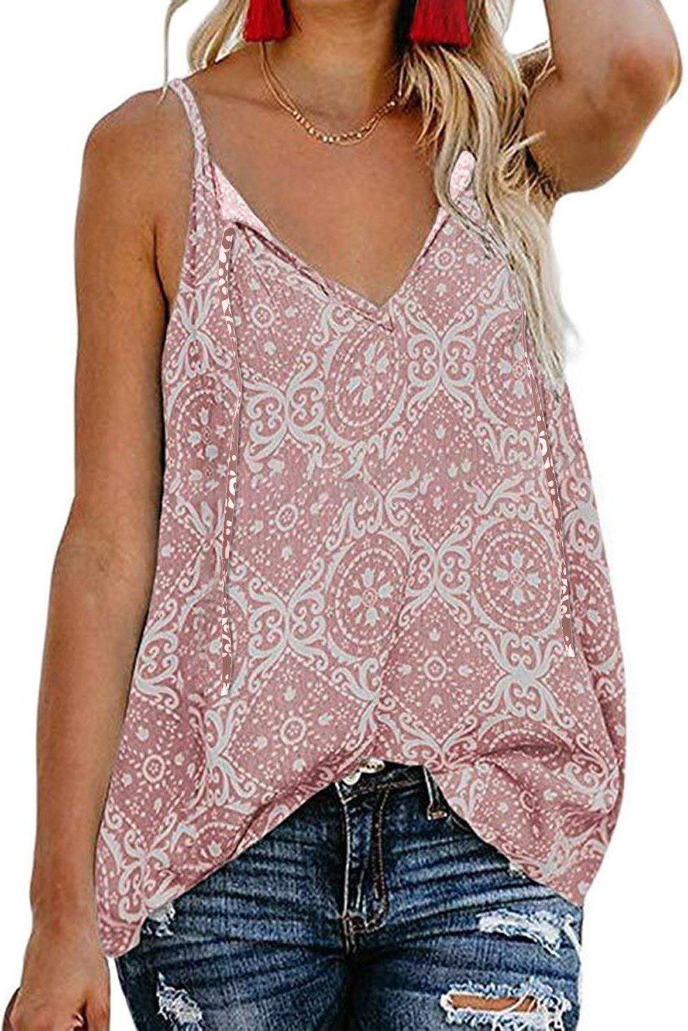 Necessary pink boho tank top Blouses & Shirts Teal Demeter