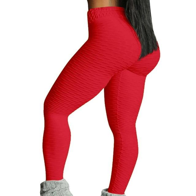 Necessary Push up High Waist Pocket Workout Leggings Leggings Wardrobe of Princess Store red-2 S